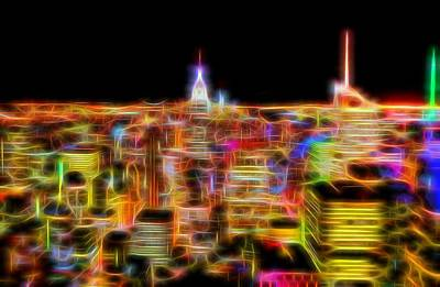 New York City Skyline Glowing Lights Poster