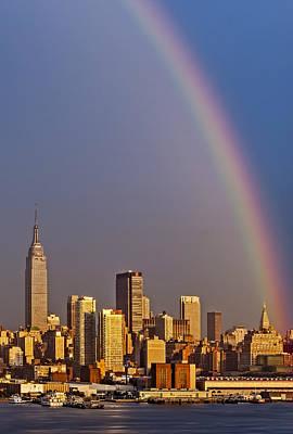 New York City Skyline Rainbow Poster by Susan Candelario