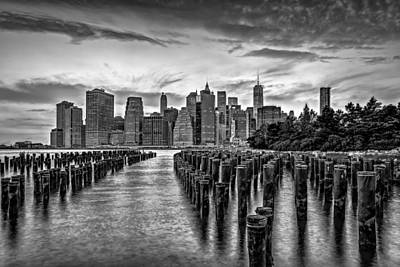 New York City Skyline Sunset Hues Bw Poster by Susan Candelario