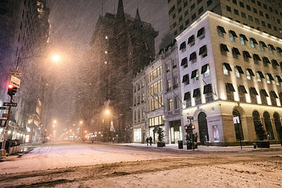 New York City Streets On A Snowy Night  Poster