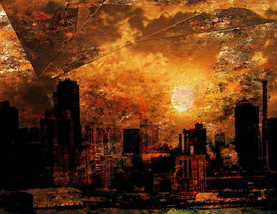 Poster featuring the digital art New York City Sunrise by Bruce Rolff
