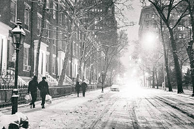 New York City - Winter Night In The Snow At Washington Square  Poster by Vivienne Gucwa