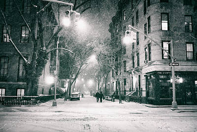 New York City - Winter Night In The West Village Poster by Vivienne Gucwa