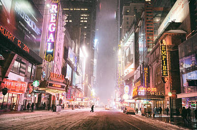 New York City - Winter Night - Times Square In The Snow Poster by Vivienne Gucwa