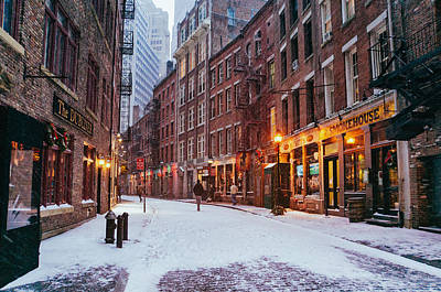 New York City - Winter - Snow On Stone Street Poster