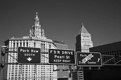 New York City With Traffic Signs Poster by Frank Romeo