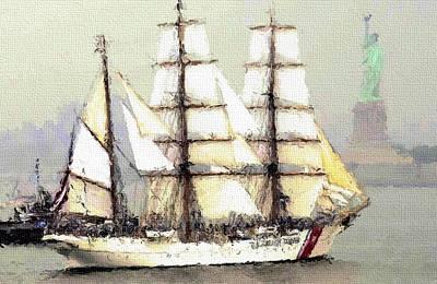 New York Coast Ship Poster by Yury Malkov