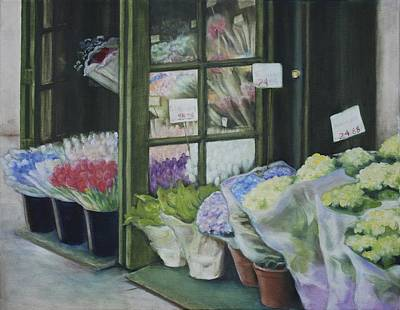 Poster featuring the painting New York Flower Shop by Rebecca Matthews