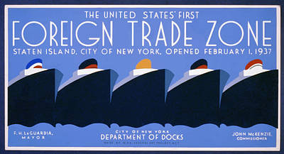 Poster featuring the painting New York Harbor by American Classic Paper