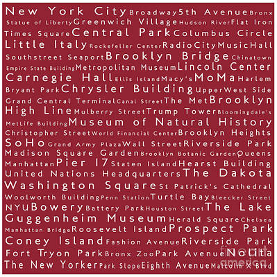 New York In Words Red Poster