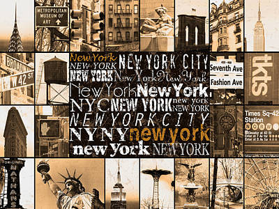 New York Life In Sepia Poster by Marilu Windvand
