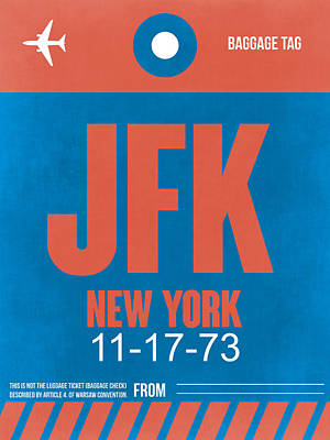 New York Luggage Tag Poster 1 Poster by Naxart Studio
