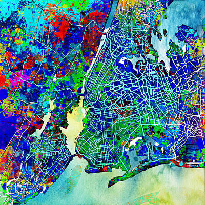 New York Map Abstract 3 Poster by Bekim Art