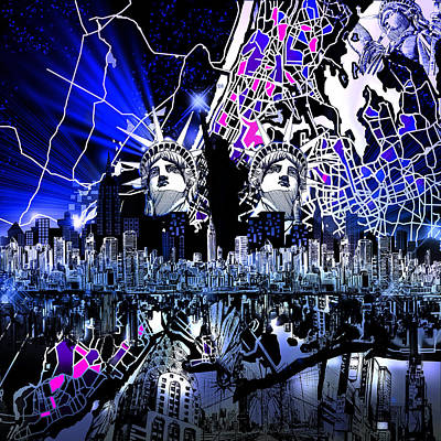 New York Map Abstract 4 Poster by Bekim Art