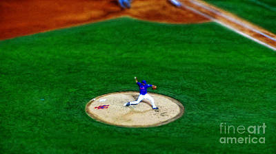 New York Mets Pitcher Abstract Poster by Nishanth Gopinathan