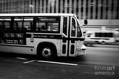 New York Mta City Bus Speeding Along 34th Street Usa Poster