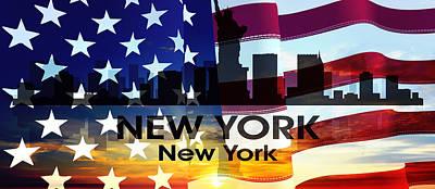 New York Ny Patriotic Large Cityscape Poster by Angelina Vick