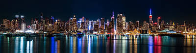 New York Panorama By Night Poster