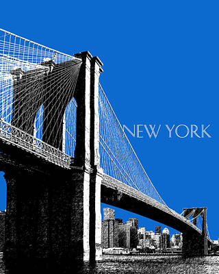 New York Skyline Brooklyn Bridge - Blue Poster