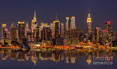 New York Skyline From New Jersey Poster by Jerry Fornarotto