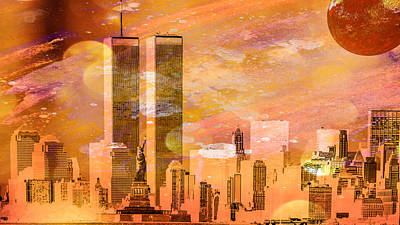 New York Skyline Poster by Louis Ferreira