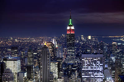 New York Skyline Night Color Poster