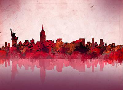 New York Skyline Red Poster by Bekim Art
