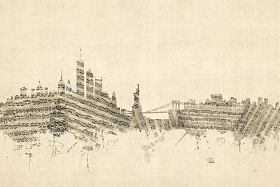 New York Skyline Sheet Music Cityscape Poster by Michael Tompsett