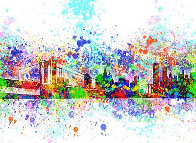 New York Skyline Splats Poster by Bekim Art
