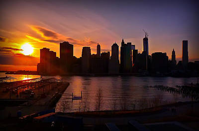 Poster featuring the photograph New York Skyline Sunset -- From Brooklyn Heights Promenade by Mitchell R Grosky