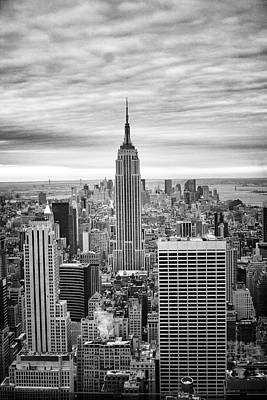 Black And White Photo Of New York Skyline Poster by Dave Beckerman
