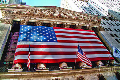 New York Stock Exchange With Us Flag Poster by David Smith