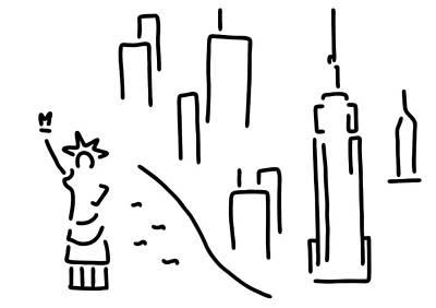 new York the Statue of Liberty skyscraper Poster