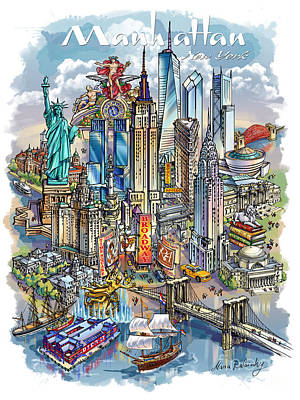 New York Theme 1 Poster by Maria Rabinky