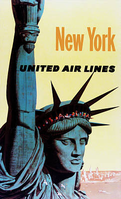 New York United Airlines Poster by Mark Rogan