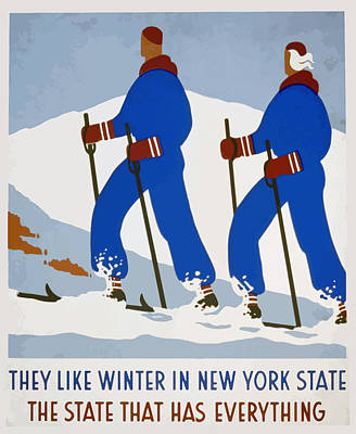 Poster featuring the painting New York Vintage Skiing by American Classic Art