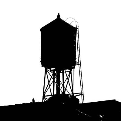 New York Water Tower 17 - Silhouette - Urban Icon Poster
