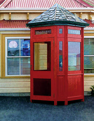 New Zealand Red Telephone Booth Poster by Linda Phelps