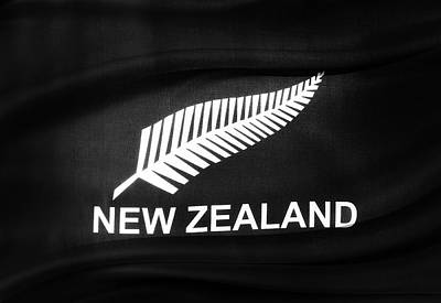 New Zealand Silver Fern Flag Poster by Les Cunliffe