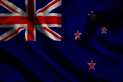New Zealands Flag Waving On Canvas Poster by Eti Reid