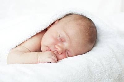 Newborn Baby Boy Asleep Poster by Ian Hooton