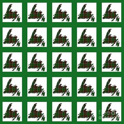 Newfoundland Tartan Map Blocks Green Trim Poster