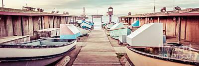 Newport Beach Dory Fleet Retro Panorama Photo Poster by Paul Velgos