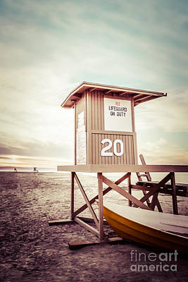 Newport Beach Lifeguard Tower 20 Vintage Picture Poster