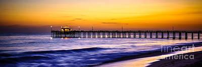 Newport Beach Pier Panorama Sunset Photo Poster