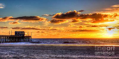 Poster featuring the photograph Newport Beach Pier - Sunset by Jim Carrell