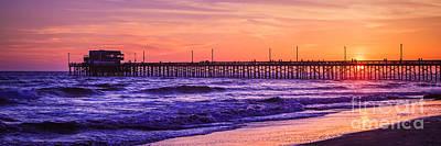 Newport Beach Pier Sunset Panorama Photo Poster by Paul Velgos