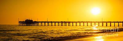 Newport Beach Pier Sunset Panoramic Photo Poster by Paul Velgos