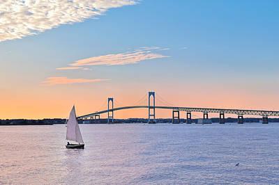 Newport Bridge Twilight Sunset With Sailboat Rhode Island Usa Poster