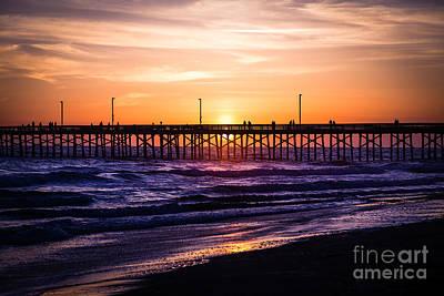 Newport Pier Sunset In Newport Beach California Poster by Paul Velgos
